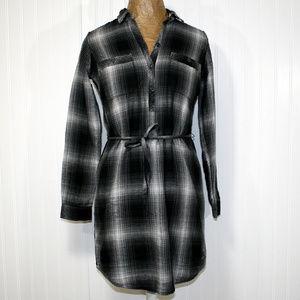 EDDIE BAUER Grey Black Plaid Flannel Shirt Dress